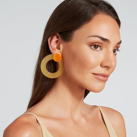 Resin Circle Earrings  HONEY  hi-res