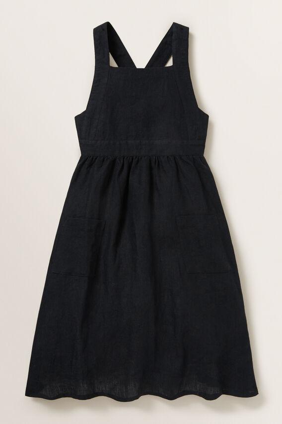 Linen Pocket Pinafore Dress  BLACK  hi-res