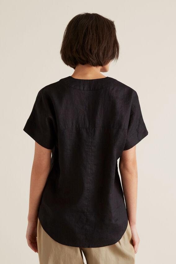V Neck Linen Top  BLACK  hi-res
