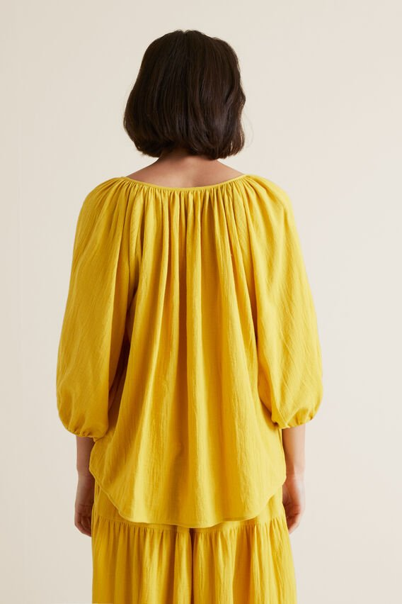 Button Down Crinkle Blouse  GOLD RUSH  hi-res