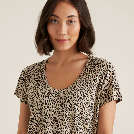 Linen Scoop Print Tee  ANIMAL  hi-res