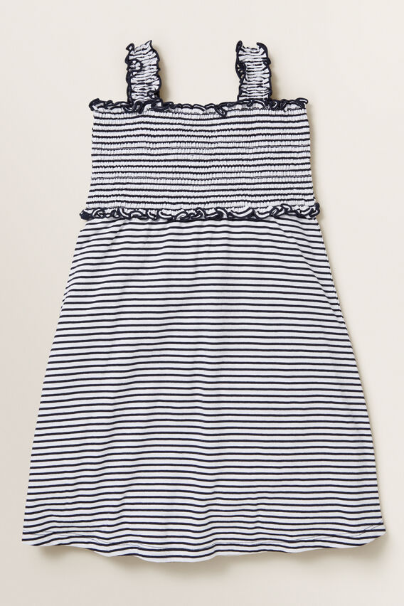 Shirred Jersey Dress  NAVY/WHITE  hi-res