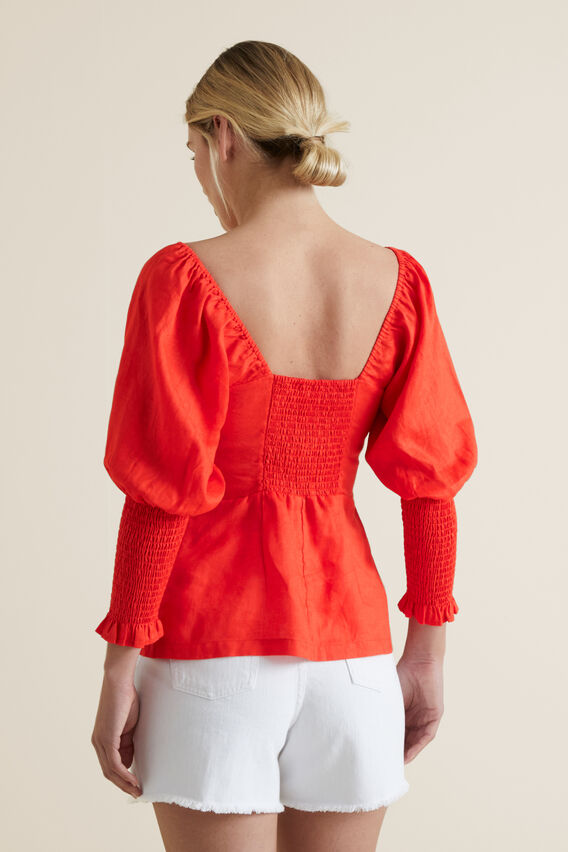 Bow Front Linen Blouse  BOLD POPPY  hi-res