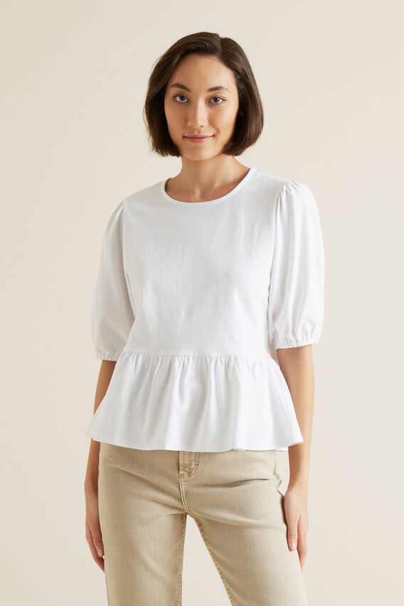 Peplum Blouson Sleeve Top  WHISPER WHITE  hi-res
