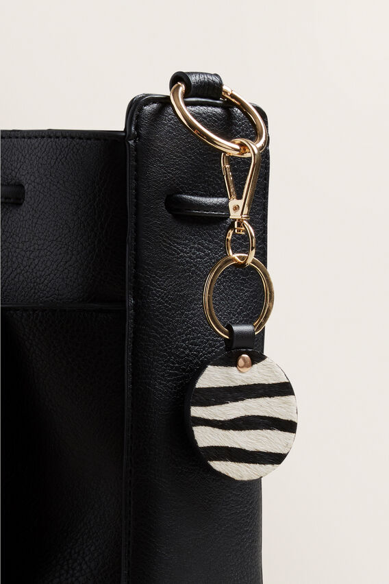 Leather Keyring  ZEBRA  hi-res