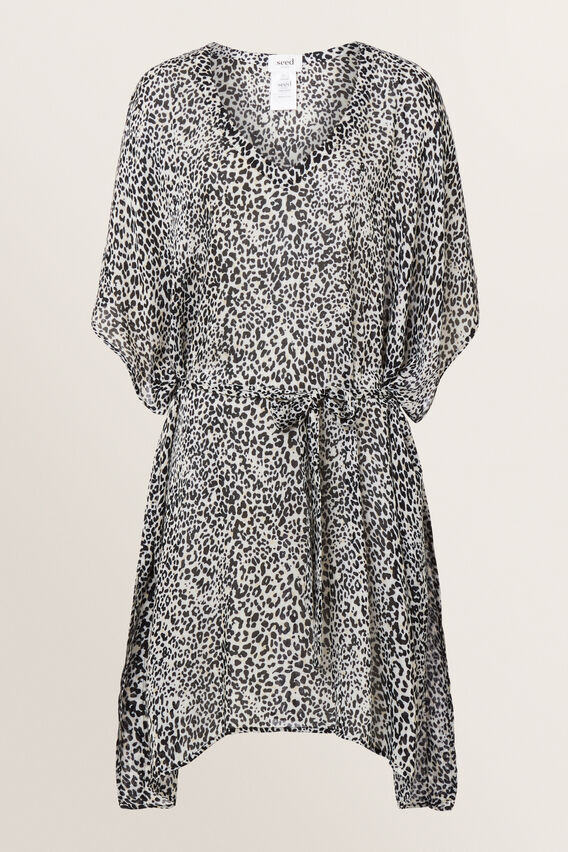 V Neck Poncho  BLACK/WHITE OCELOT  hi-res