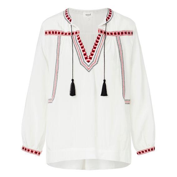 Pretty Embroidered Blouse  CREAM  hi-res