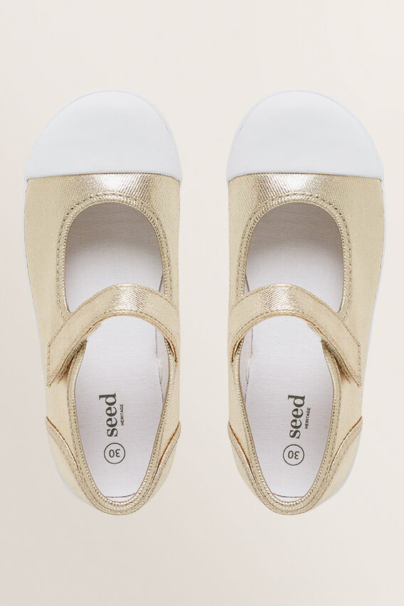 Mary-Jane Canvas Shoes  GOLD  hi-res