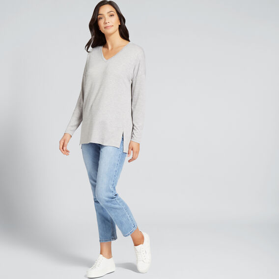 V Neck Long Sleeve Top  MID GREY MARLE  hi-res
