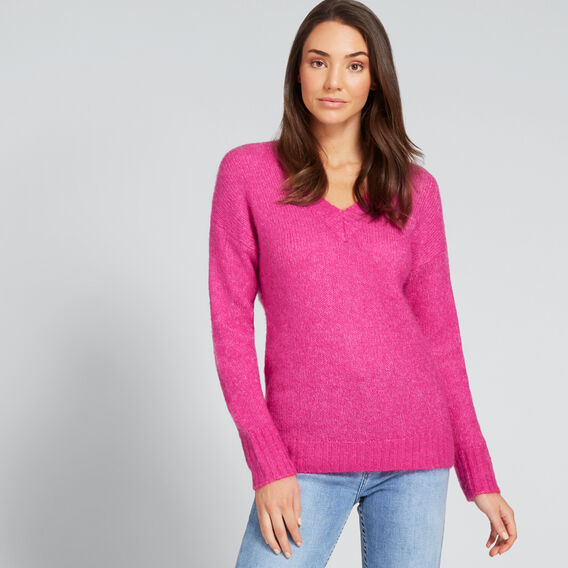 V Neck Neat Sweater  BOLD FUCHSIA  hi-res