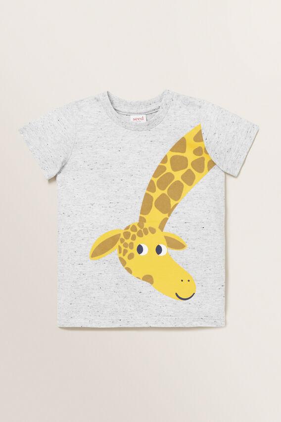 Giraffe Print Tee  CLOUDY MARLE  hi-res