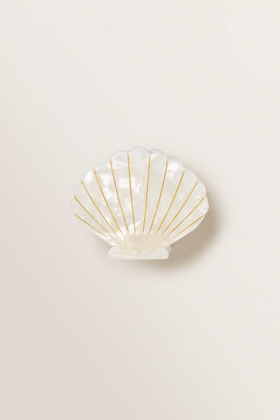 Shell Claw Clip  WHITE  hi-res