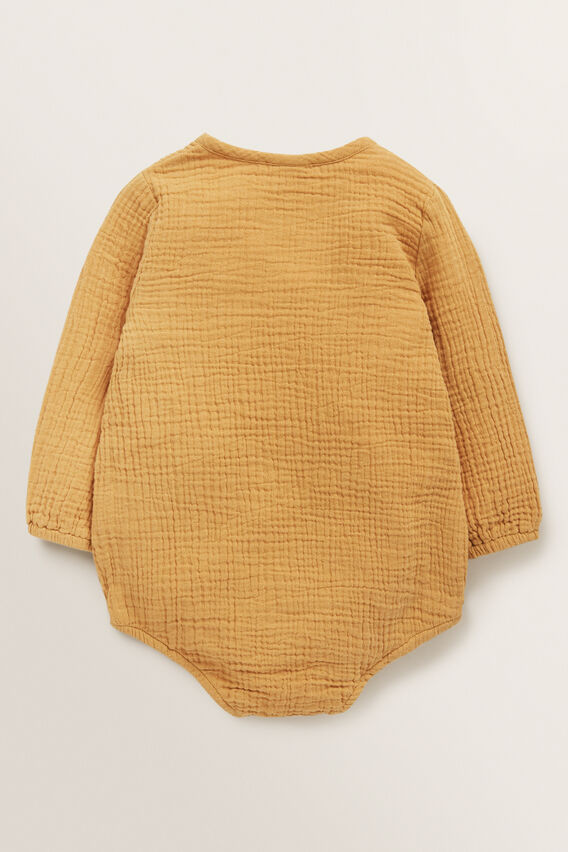 Cheesecloth Wrap Onesie  BUTTERSCOTCH  hi-res