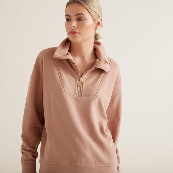 Drop Shoulder Zip Sweater  ROSE BLUSH  hi-res