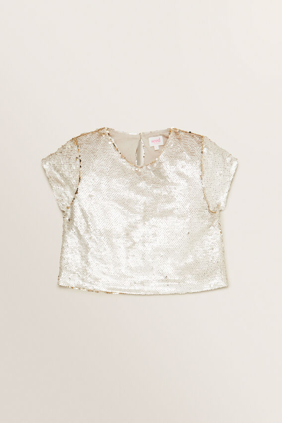 Sequin Cropped Tee  STONE  hi-res