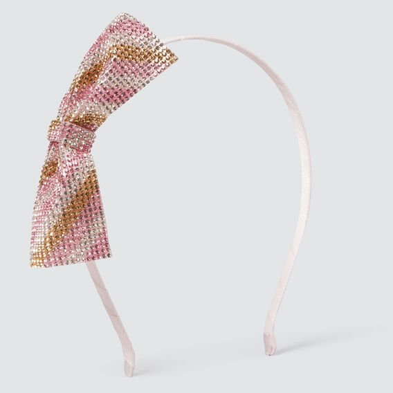 Stripe Gem Bow Headband  PINK  hi-res