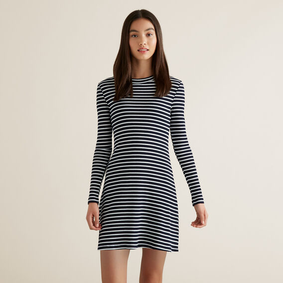 Rib Long Sleeve Dress  MIDNIGHT STRIPE  hi-res
