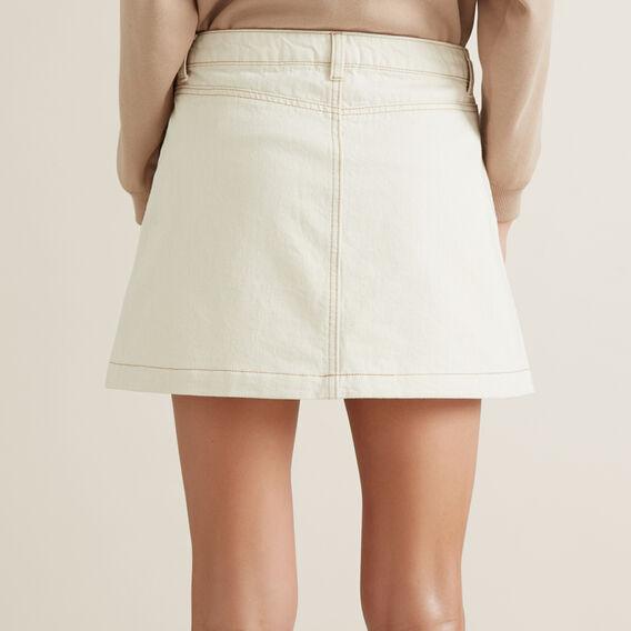 Pocket Denim Skirt  OYSTER  hi-res