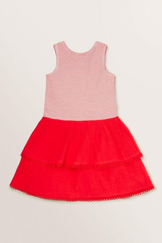 Spliced Rib Dress  APPLE RED/WHITE  hi-res