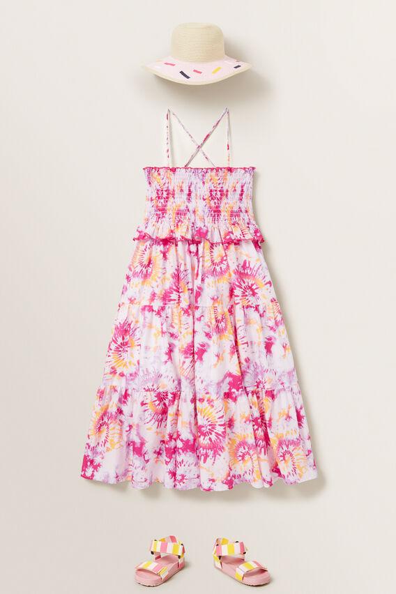 Tie Dye Shirred Midi Dress  MULTI  hi-res