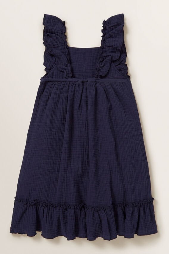 Cheesecloth Frill Dress  NAVY  hi-res