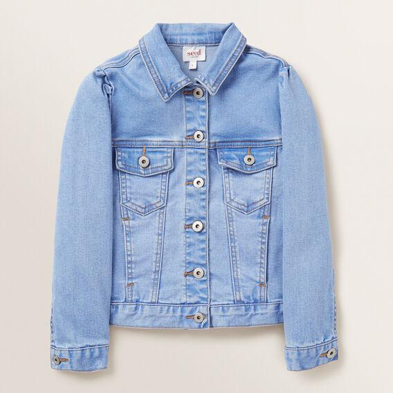 Puff Sleeve Denim Jacket  FADED BLUE  hi-res