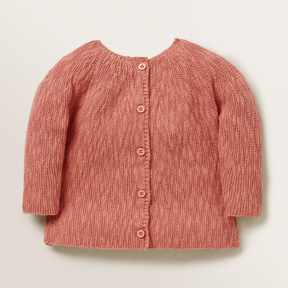 Slub Knitted Cardigan  RHUBARB  hi-res