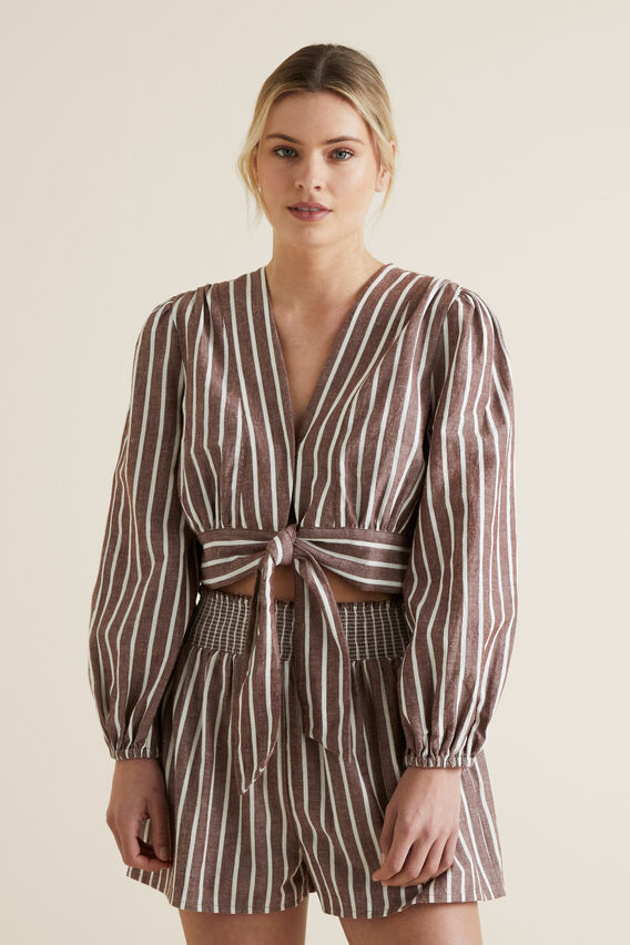 Tie Front Blouson Top  RAISIN STRIPE  hi-res