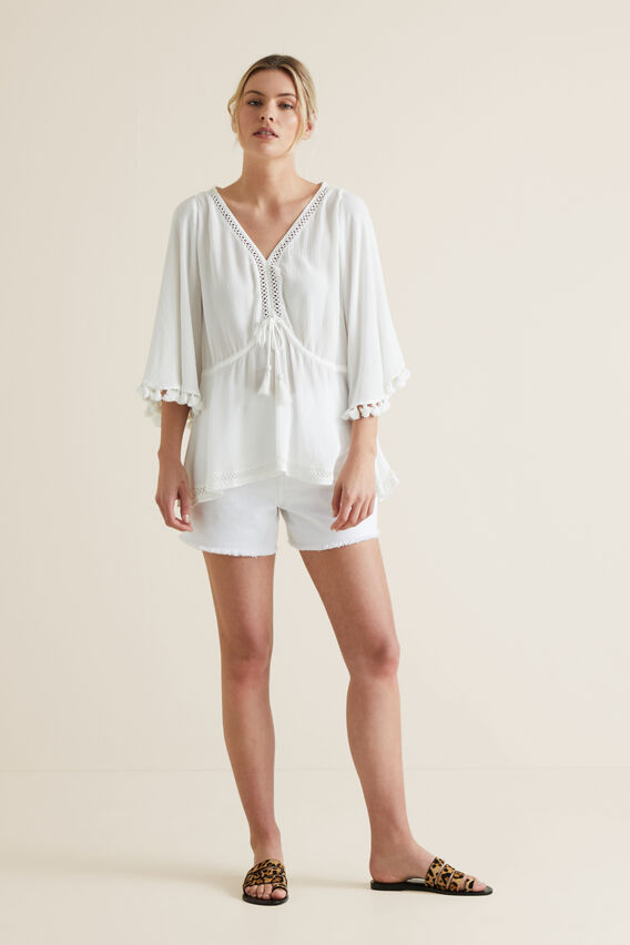 Flutter Sleeve Blouse  CLOUD CREAM  hi-res