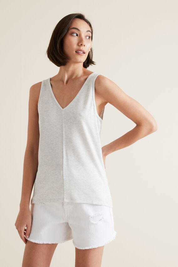 V Neck Tank  LIGHT GREY MARLE  hi-res