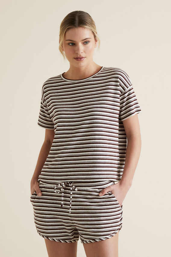 Boxy Terry Tee  RAISIN STRIPE  hi-res