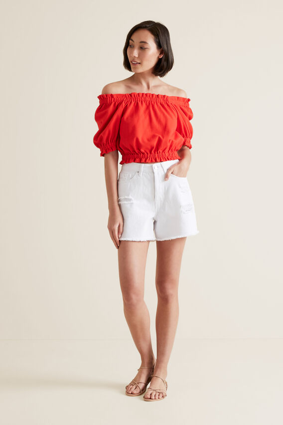 Blouson Sleeve Crop Top  BOLD POPPY  hi-res