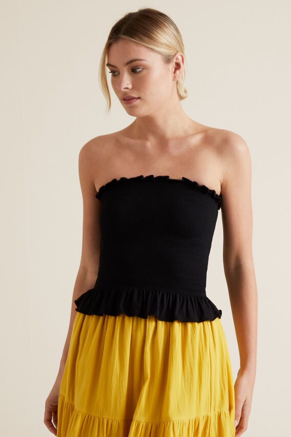 Shirred Bandeau Top  BLACK  hi-res