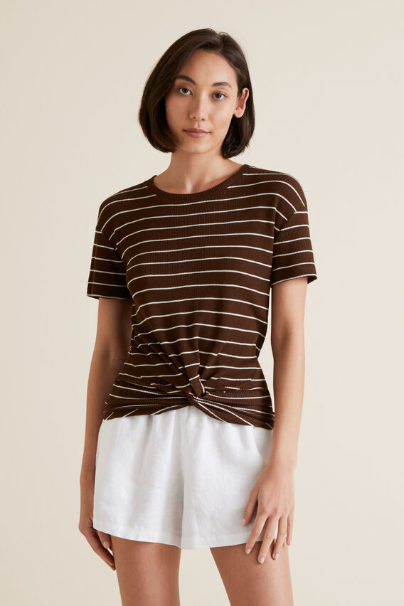 Twist Front Tee  RAISIN STRIPE  hi-res