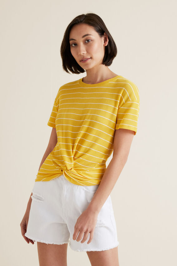Twist Front Tee  GOLD RUSH STRIPE  hi-res