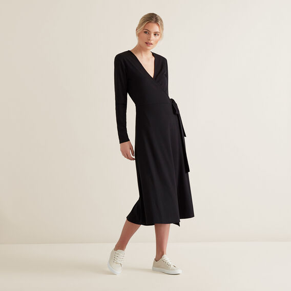 Ribbed Tie Up Dress  BLACK  hi-res