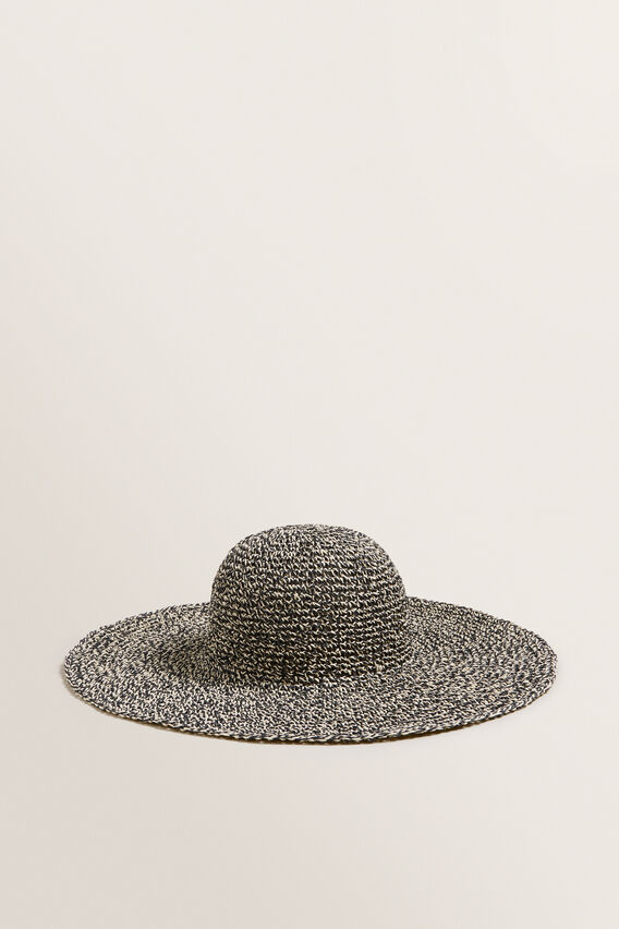 Two Tone Sunhat  BLACK/NATURAL  hi-res