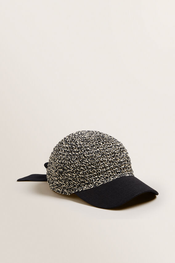 Tie Back Cap  BLACK/NATURAL  hi-res