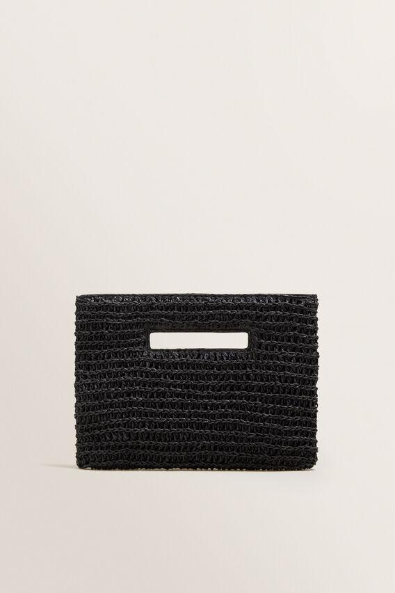 Weave Straw Clutch  BLACK  hi-res