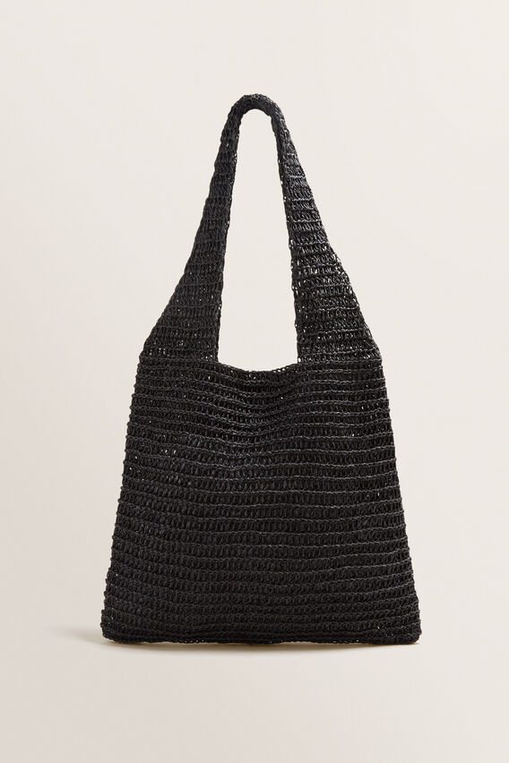 Weave Straw Tote  BLACK  hi-res