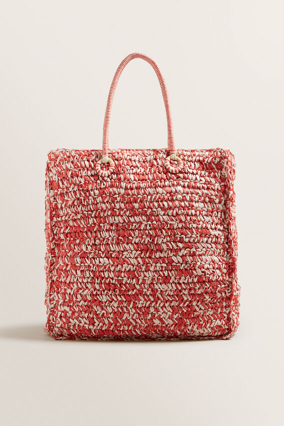 Two Tone Straw Tote  POPPY MULTI  hi-res
