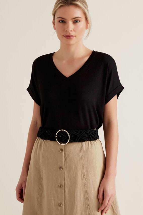 Macrame Waist Belt  BLACK  hi-res