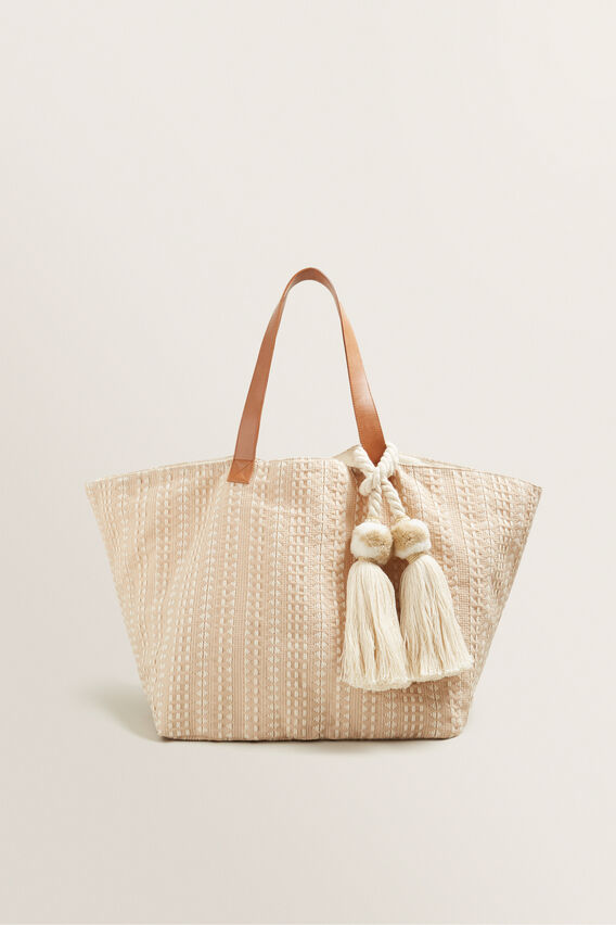 Textured Tassel Tote  NATURAL  hi-res