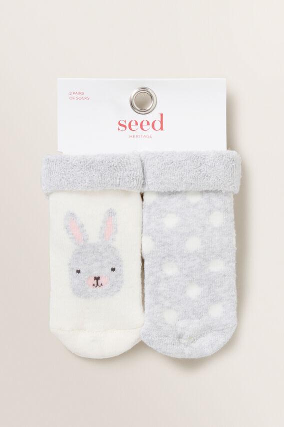 Bunny Spot Cosy Sock  GREY MARLE  hi-res