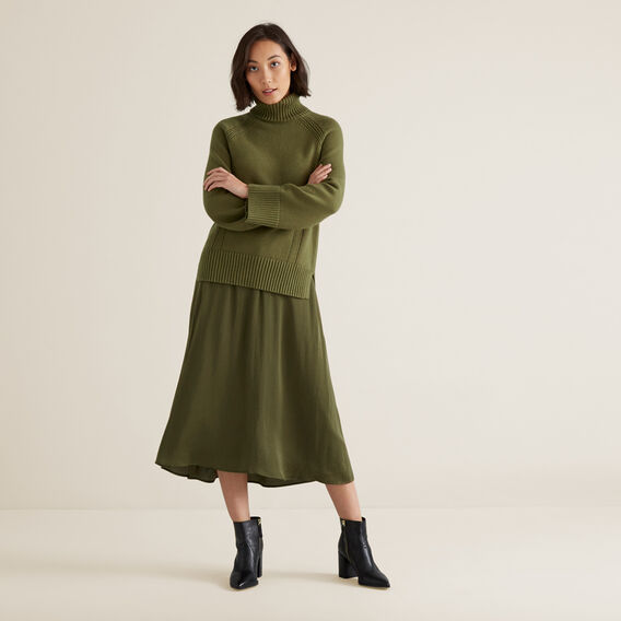 Chunky Roll Neck Sweater  CEDAR GREEN  hi-res