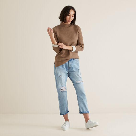 High Neck Split Sweater  WALNUT/FRENCH VANILA  hi-res