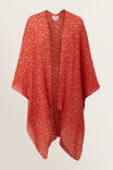 Pleated Summer Poncho, BOLD POPPY, hi-res