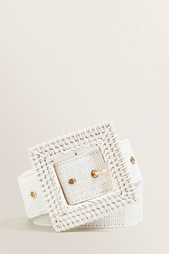 Rattan Belt  WHITE  hi-res