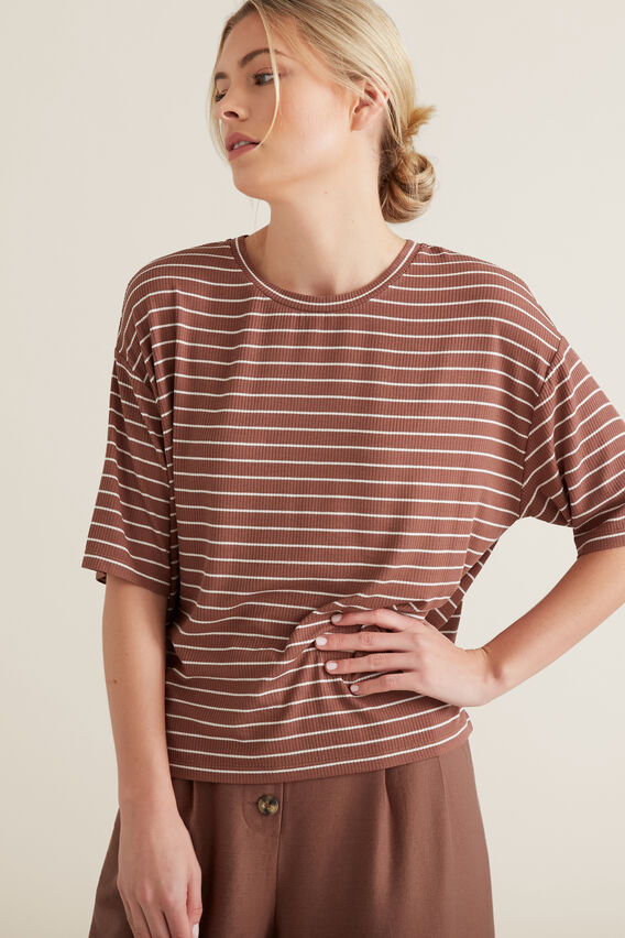Boxy Drop Shoulder Tee  WASHED ROSE STRIPE  hi-res