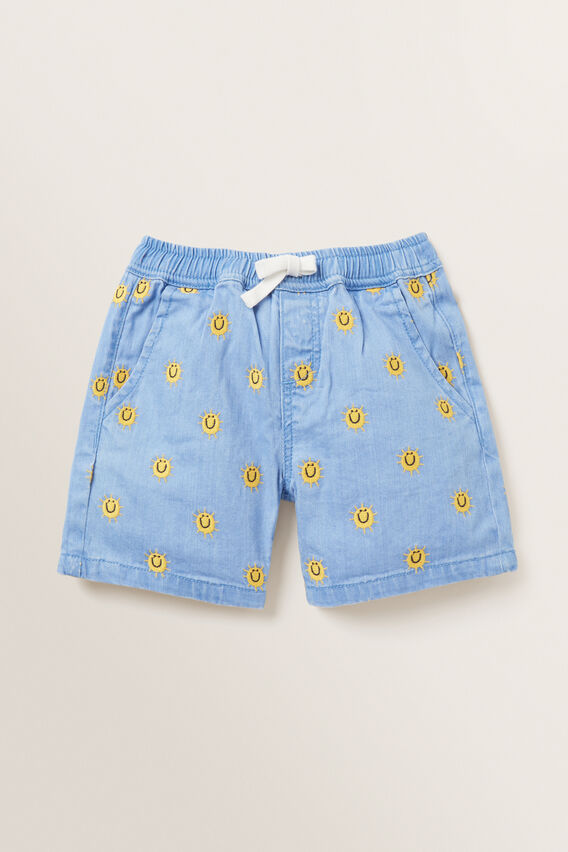 Sun Embroidered Short  FADED BLUE  hi-res